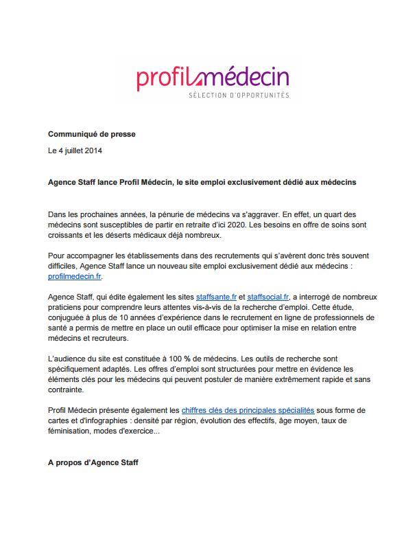 CP lancement Profil Medecin